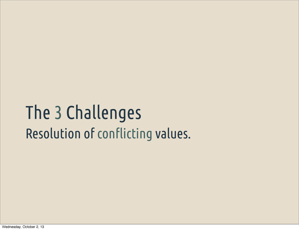 "Resolution of con""icting values. The 3 Challeng..."