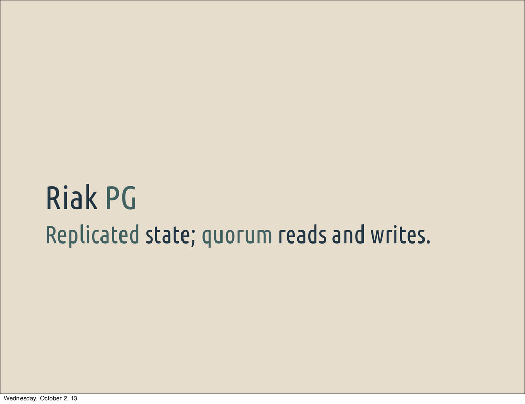 Replicated state; quorum reads and writes. Riak...