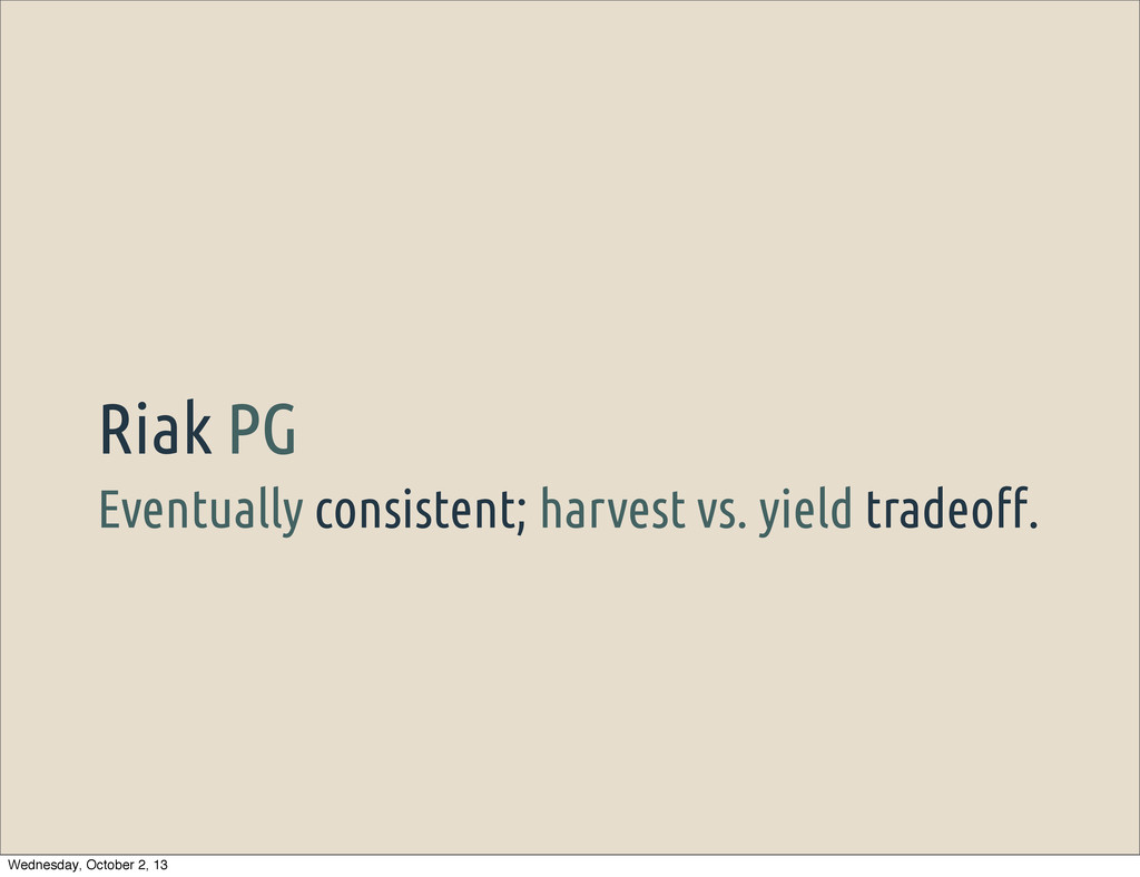 Eventually consistent; harvest vs. yield tradeo...