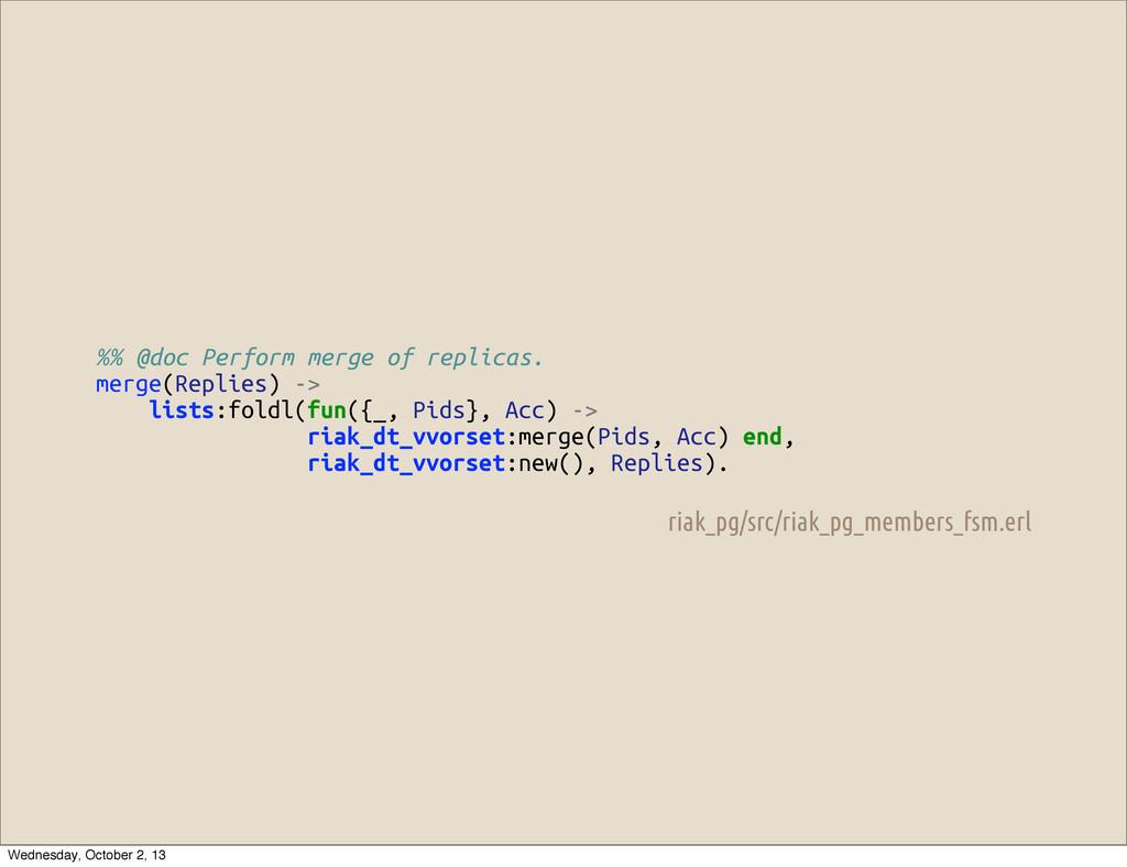 %% @doc Perform merge of replicas. merge(Replie...