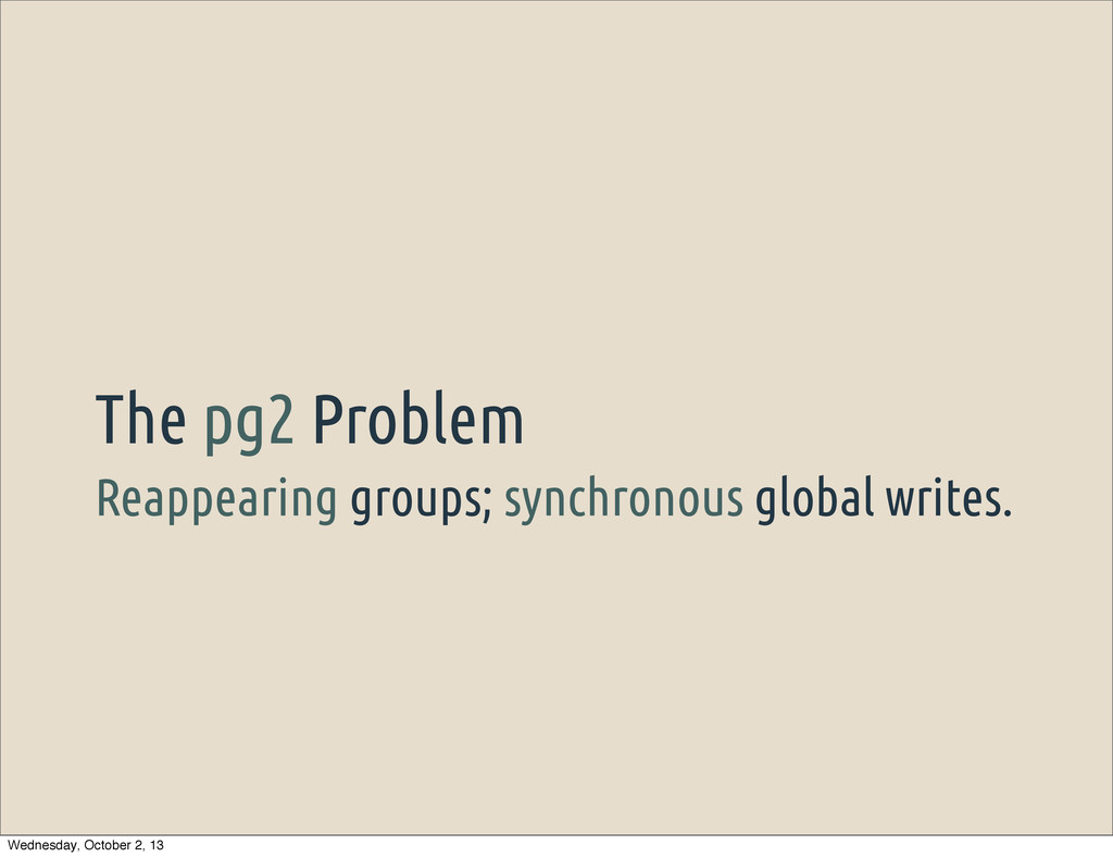 Reappearing groups; synchronous global writes. ...