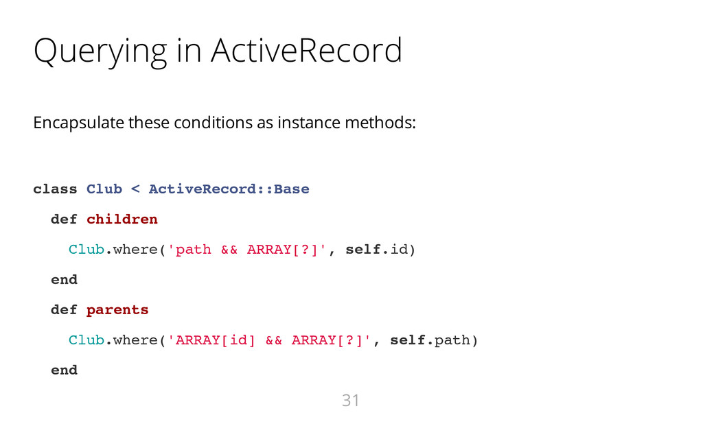 Querying in ActiveRecord Encapsulate these cond...