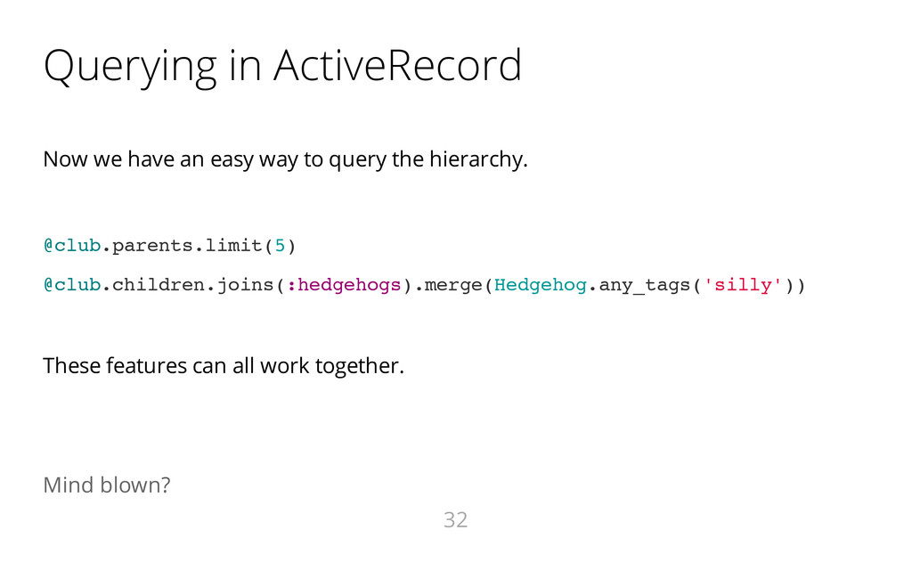 Querying in ActiveRecord Now we have an easy wa...