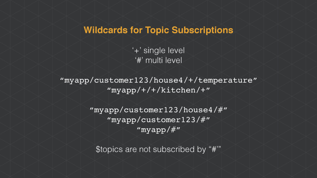 Wildcards for Topic Subscriptions '+' single le...