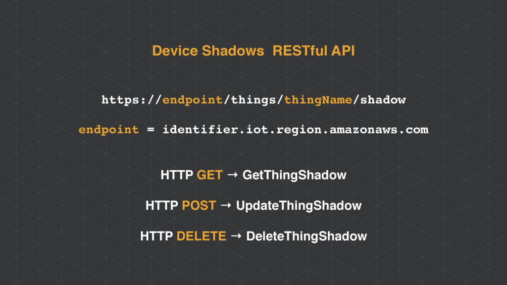 Device Shadows RESTful API https://endpoint/thi...