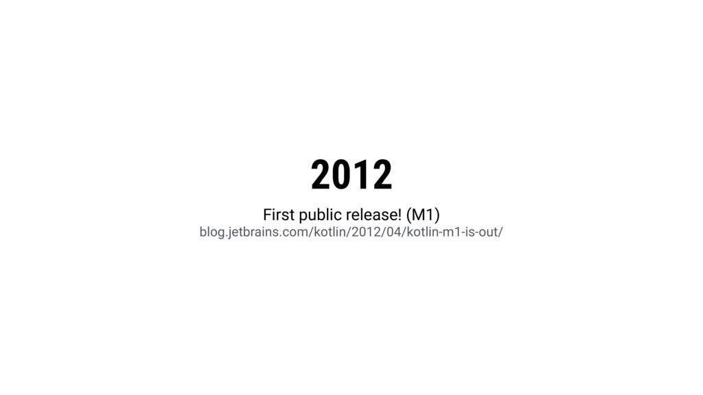 2012 First public release! (M1) blog.jetbrains....