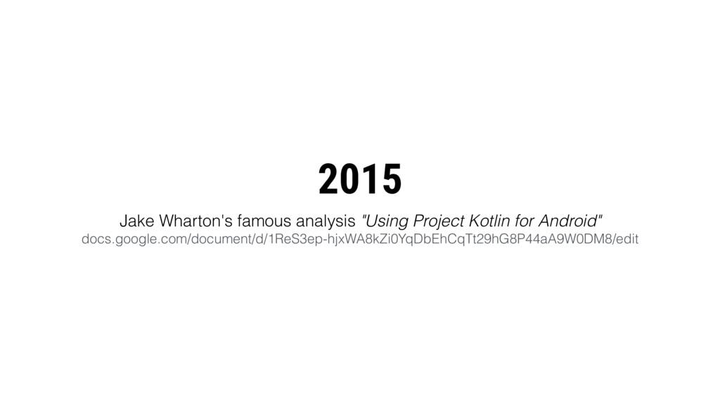 "2015 Jake Wharton's famous analysis ""Using Proj..."