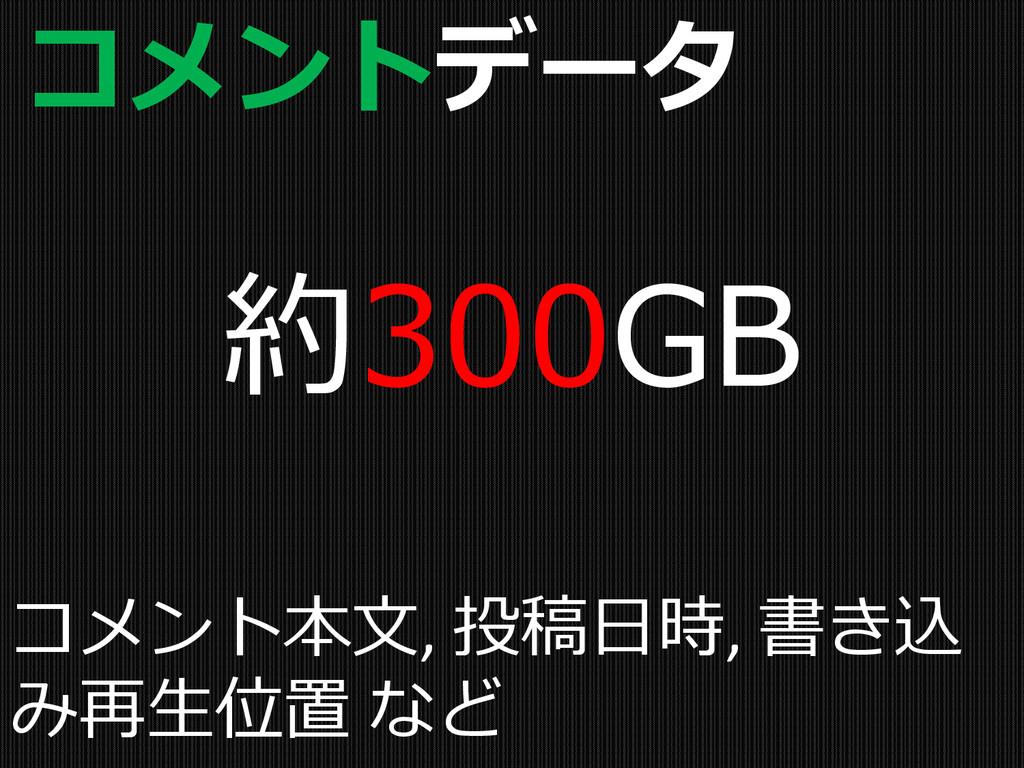 コメントデータ 約300GB コメント本文, 投稿日時, 書き込 み再生位置 など