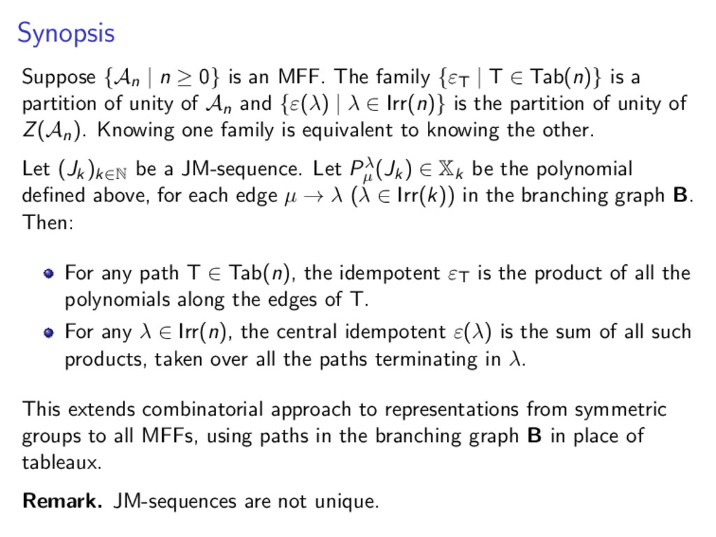 Synopsis Suppose {An | n ≥ 0} is an MFF. The fa...