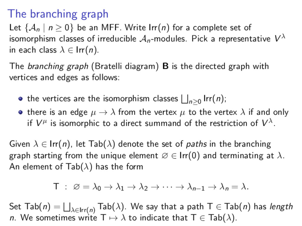 The branching graph Let {An | n ≥ 0} be an MFF....