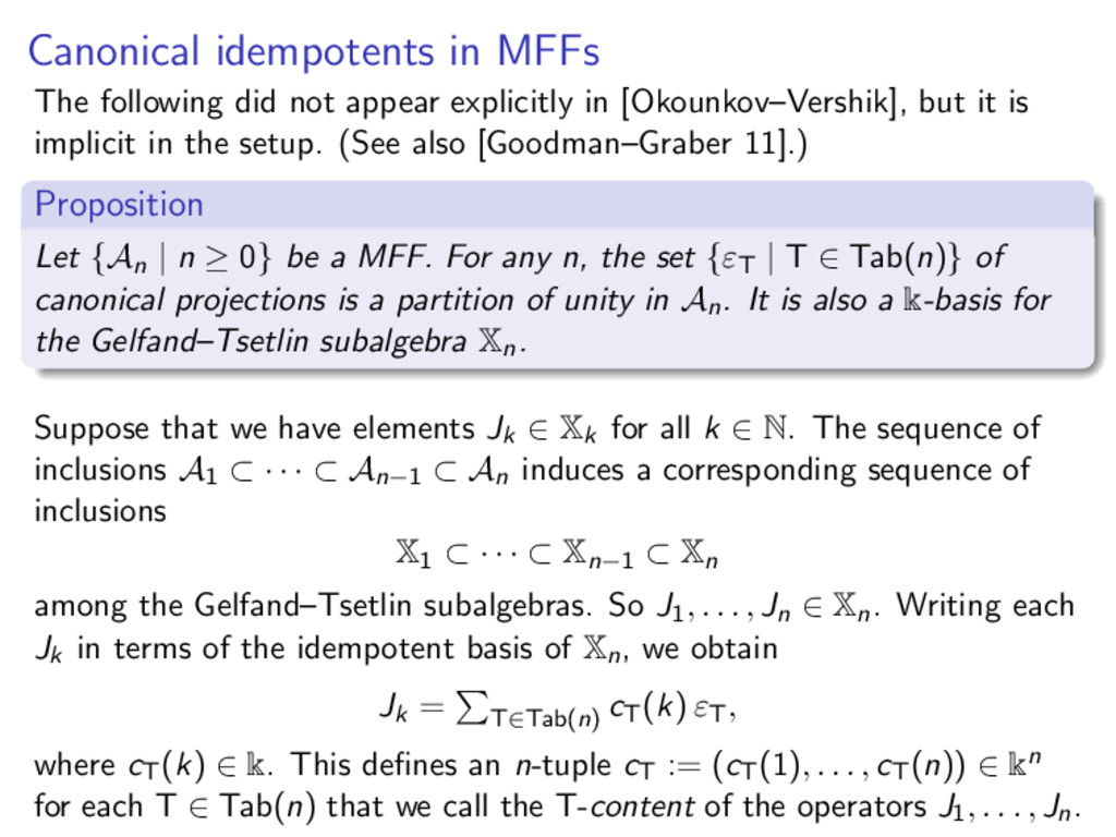 Canonical idempotents in MFFs The following did...