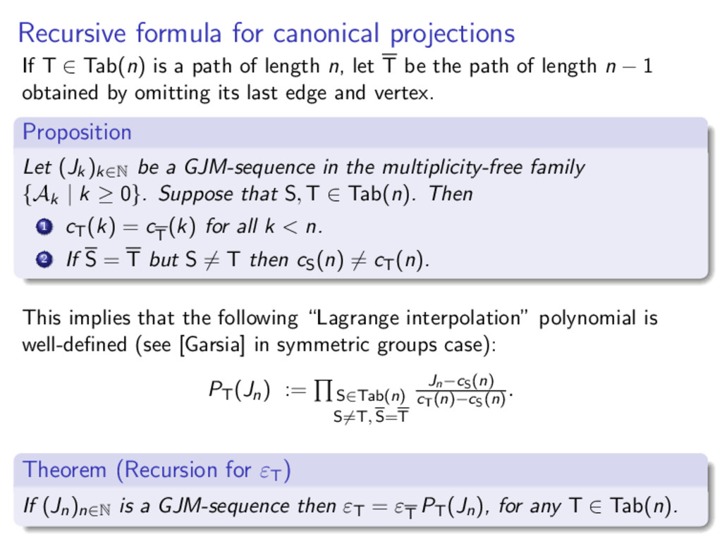 Recursive formula for canonical projections If ...