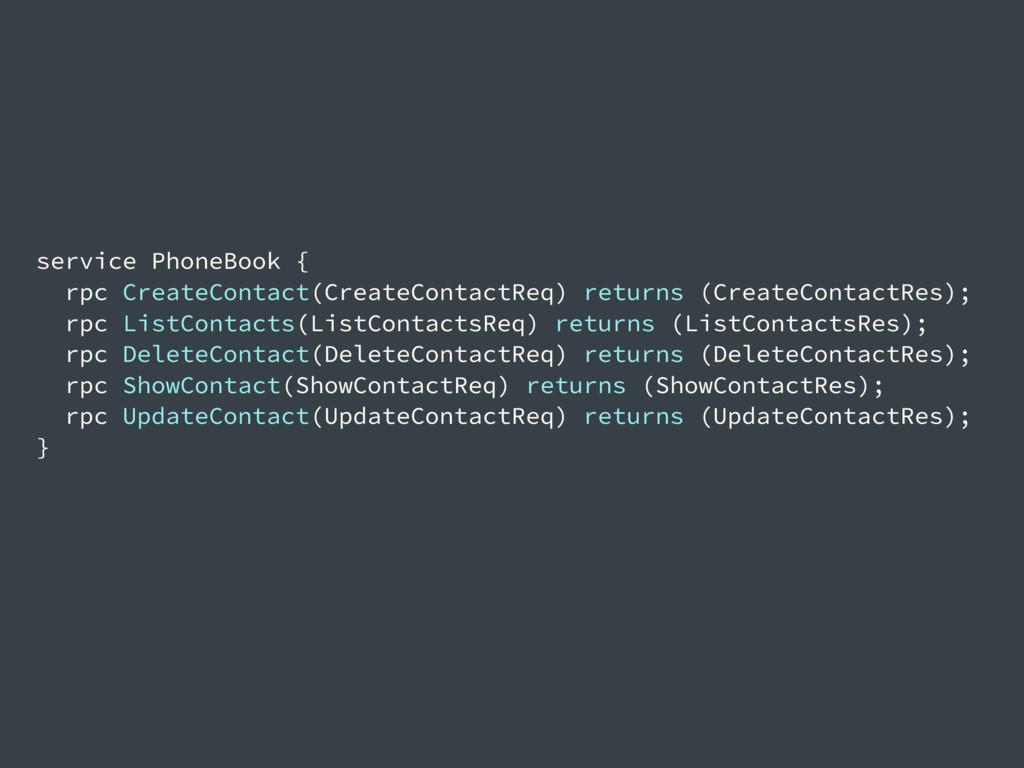 service PhoneBook { rpc CreateContact(CreateCon...