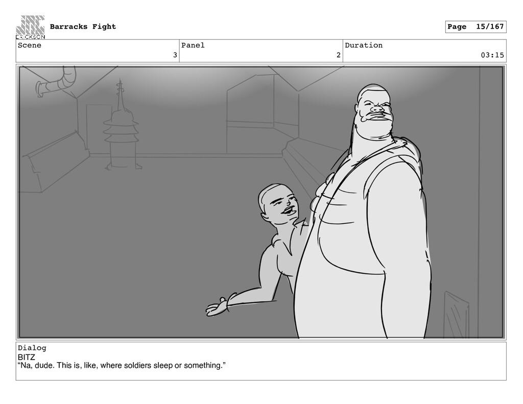 "Scene 3 Panel 2 Duration 03:15 Dialog BITZ ""Na,..."