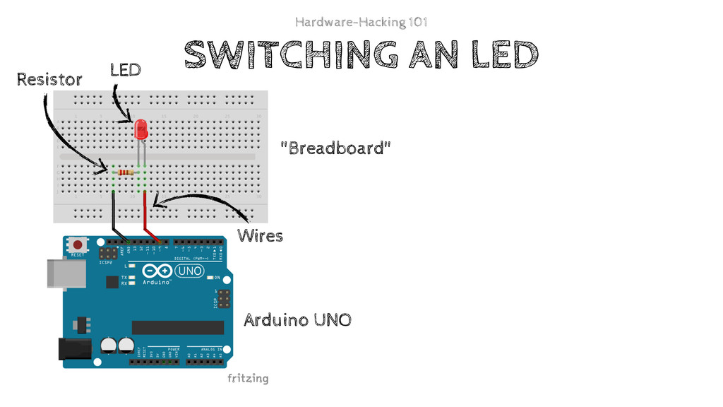 """SWITCHING AN LED """"Breadboard"""" Arduino UNO LED R..."""