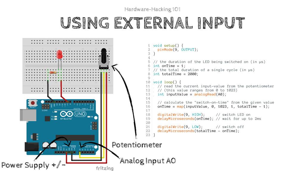 USING EXTERNAL INPUT Analog Input A0 Power Supp...