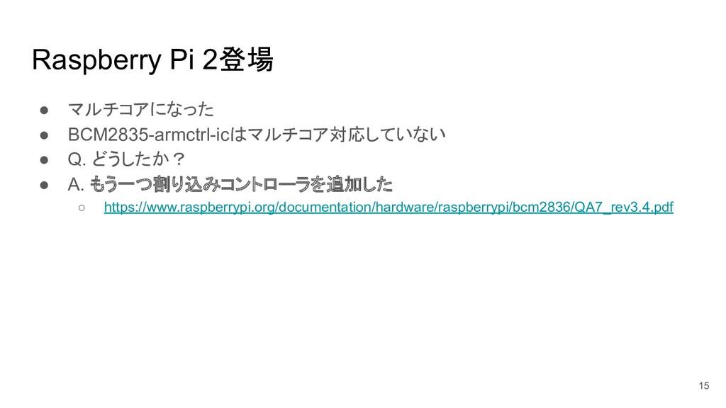 Raspberry Pi 2登場 ● マルチコアになった ● BCM2835-armctrl-...