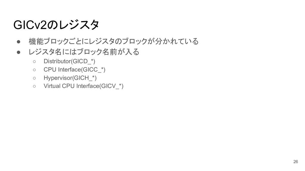 GICv2のレジスタ ● 機能ブロックごとにレジスタのブロックが分かれている ● レジスタ名に...