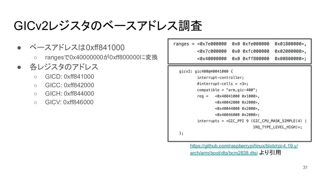 GICv2レジスタのベースアドレス調査 ● ベースアドレスは0xff841000 ○ rang...