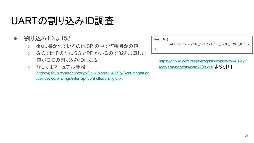 UARTの割り込みID調査 ● 割り込みIDは153 ○ dtsに書かれているのは SPIの中...