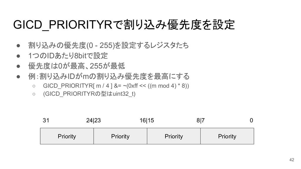 GICD_PRIORITYRで割り込み優先度を設定 ● 割り込みの優先度(0 - 255)を設...