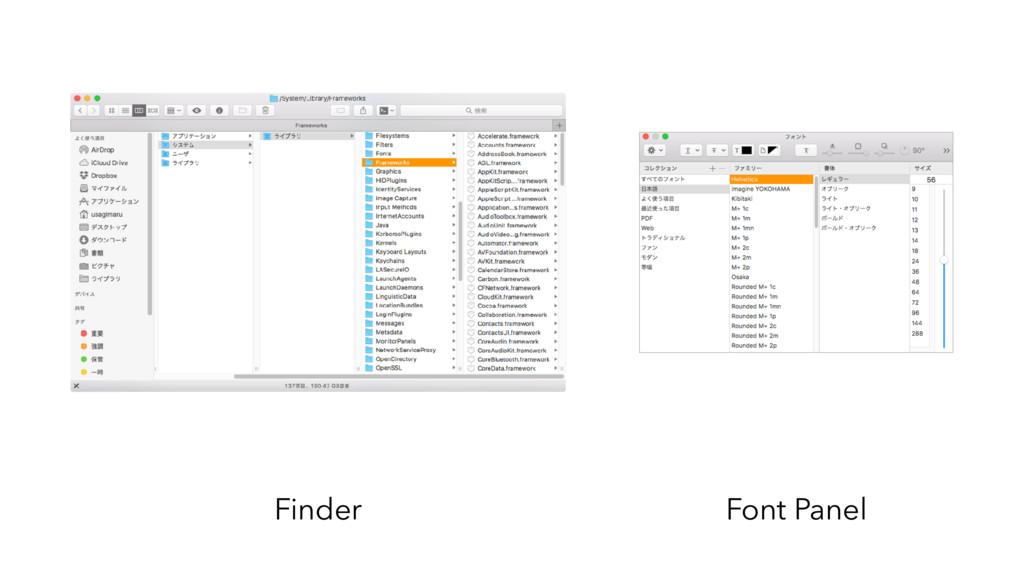 Finder Font Panel