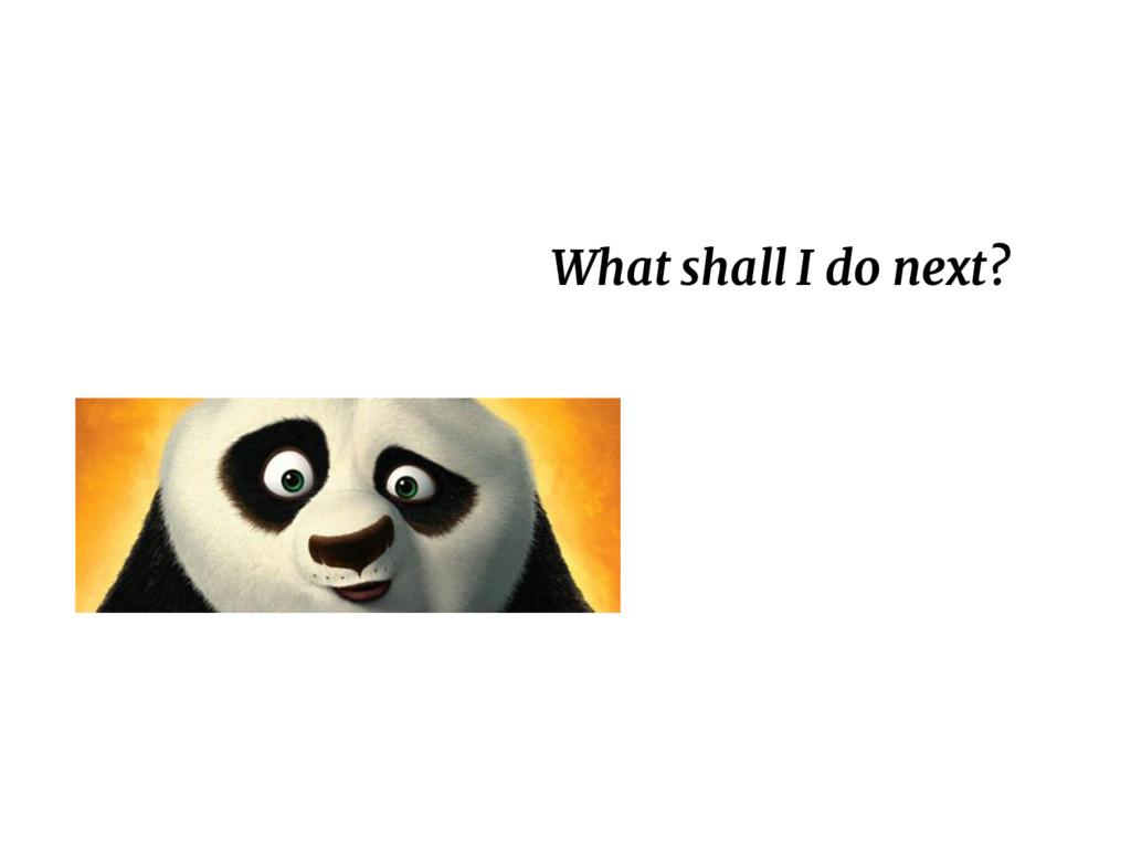 What shall I do next?