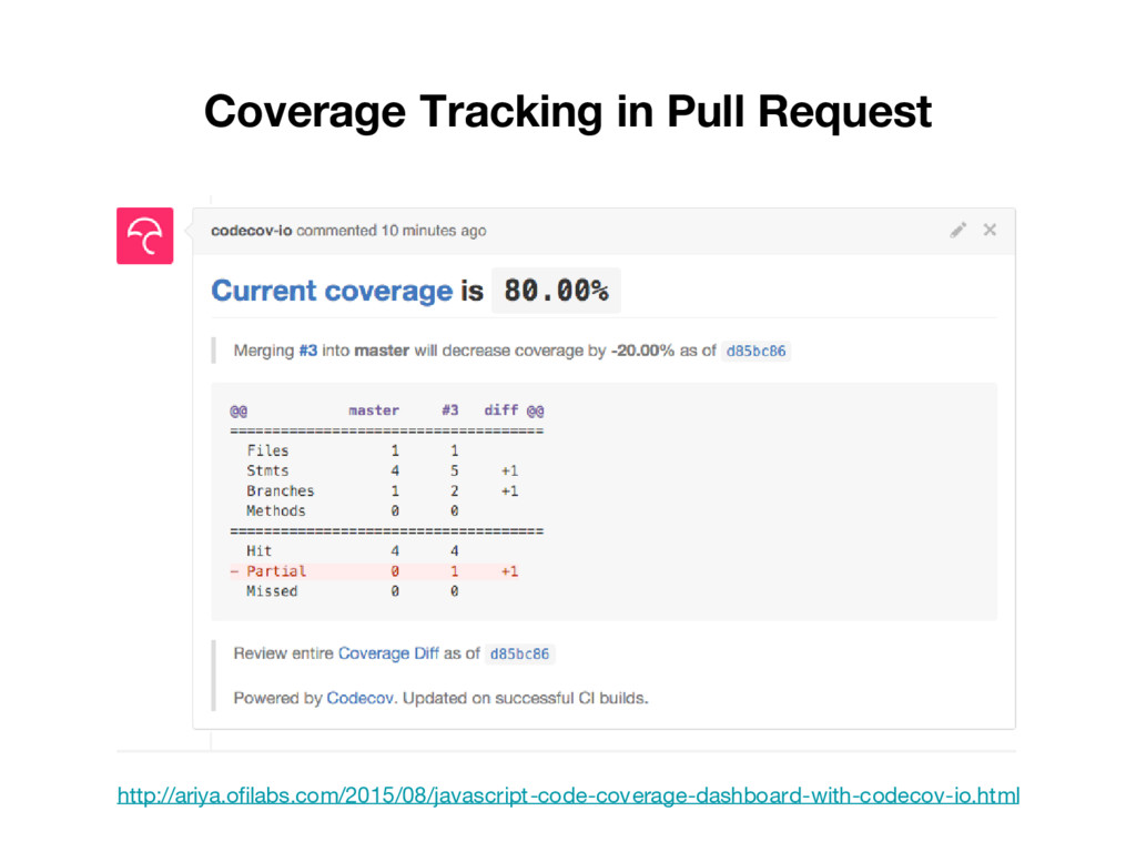 Coverage Tracking in Pull Request http://ariya....