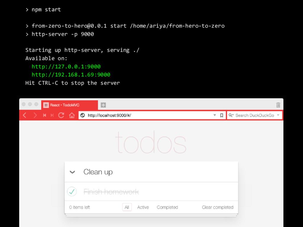 > npm start > from-zero-to-hero@0.0.1 start /ho...