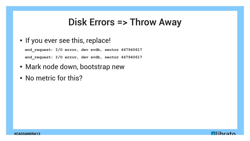 #CASSANDRA13 Disk Errors => Throw Away ● If you...