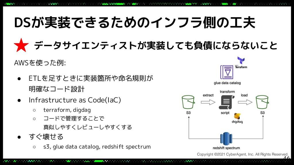 DSが実装できるためのインフラ側の工夫 AWSを使った例: ● ETLを足すときに実装箇所や命...