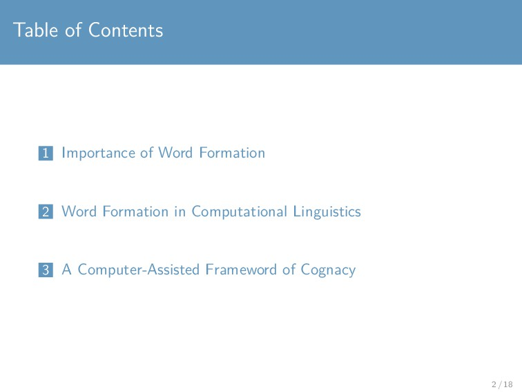 Table of Contents 1 Importance of Word Formatio...