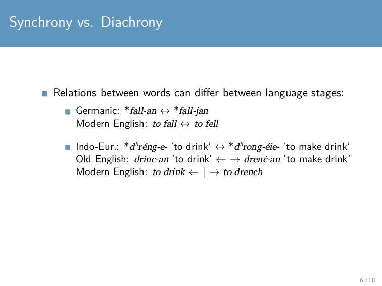 Synchrony vs. Diachrony Relations between words...