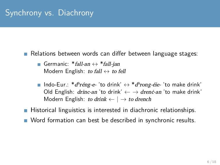Synchrony vs. Diachrony Relations between words...
