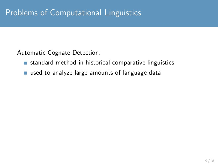 Problems of Computational Linguistics Automatic...