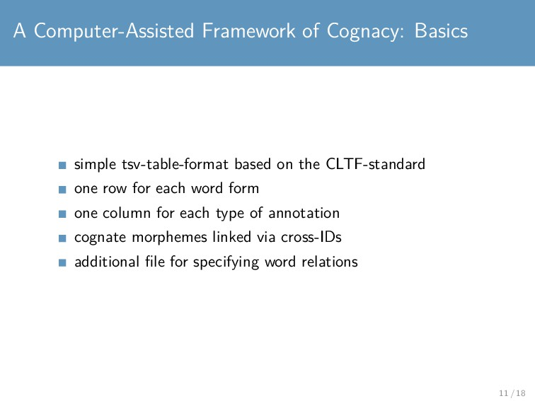 A Computer-Assisted Framework of Cognacy: Basic...