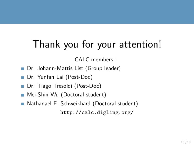 Thank you for your attention! CALC members : Dr...