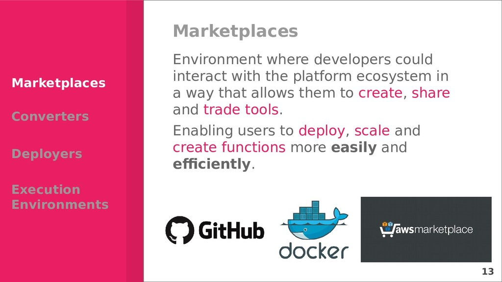 13 Marketplaces Environment where developers co...