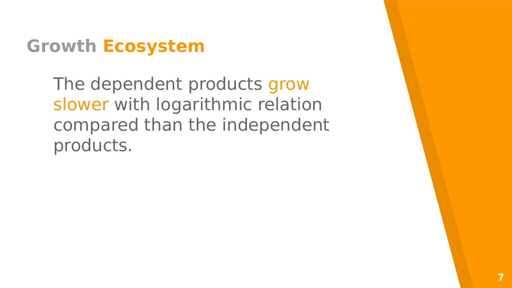 7 Growth Ecosystem The dependent products grow ...