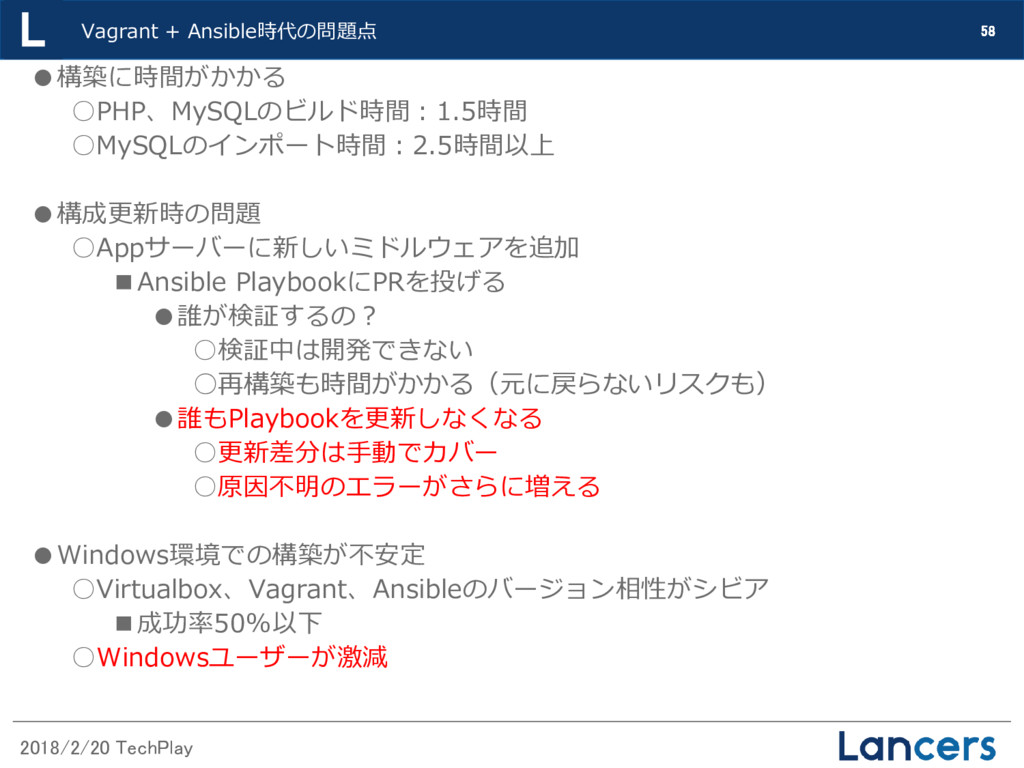 2018/2/20 TechPlay 58 Vagrant + Ansible時代の問題点 ●...