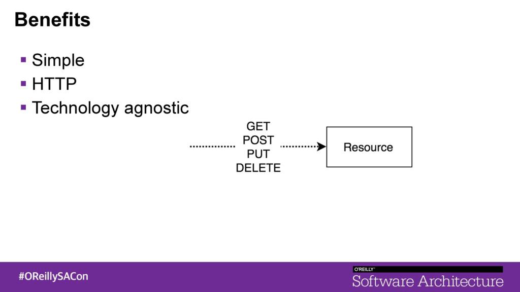 Benefits ! Simple ! HTTP ! Technology agnostic