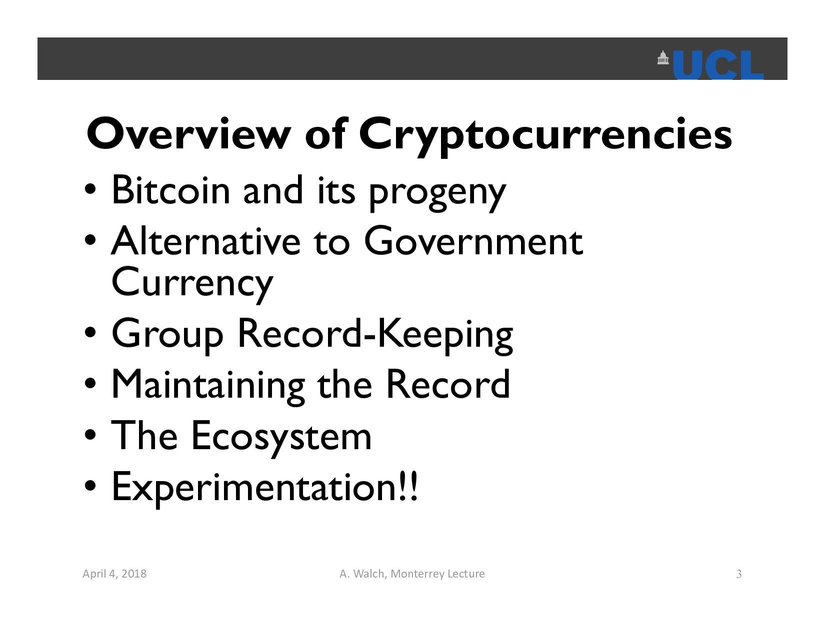 Overview of Cryptocurrencies • Bitcoin and its ...