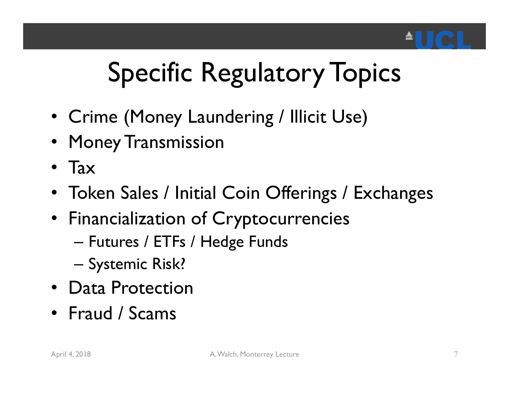 Specific Regulatory Topics • Crime (Money Laund...