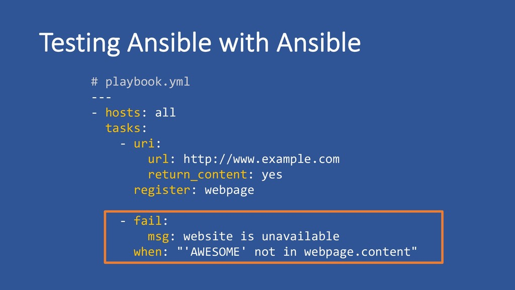 Testing Ansible with Ansible # playbook.yml ---...
