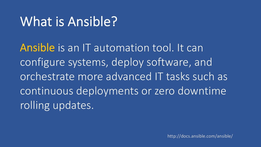 What is Ansible? Ansible is an IT automation to...