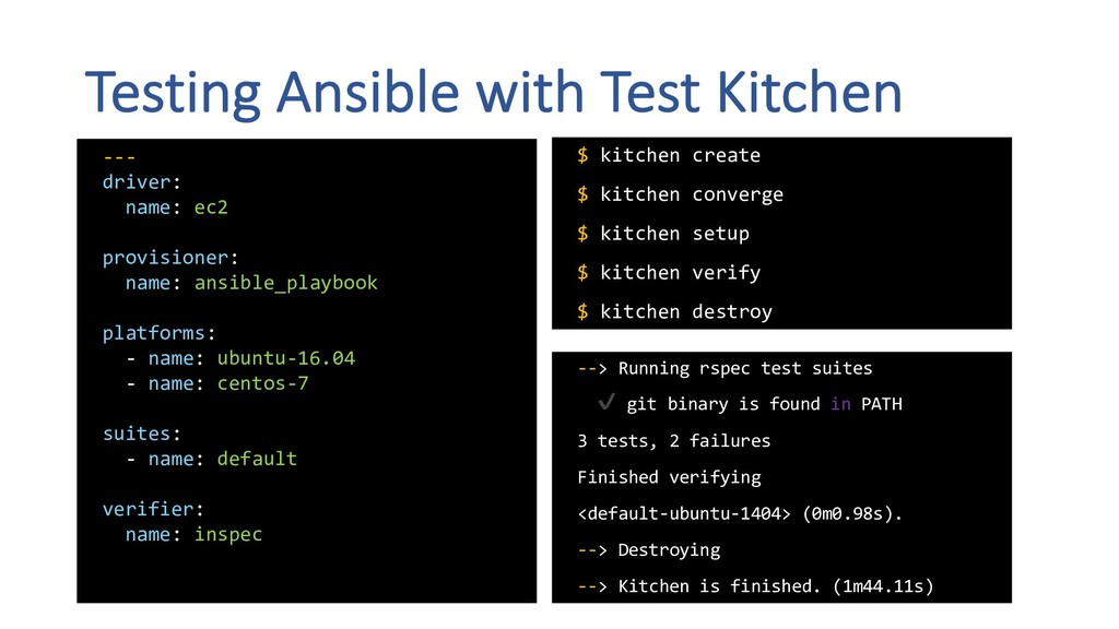 Testing Ansible with Test Kitchen --- driver: n...