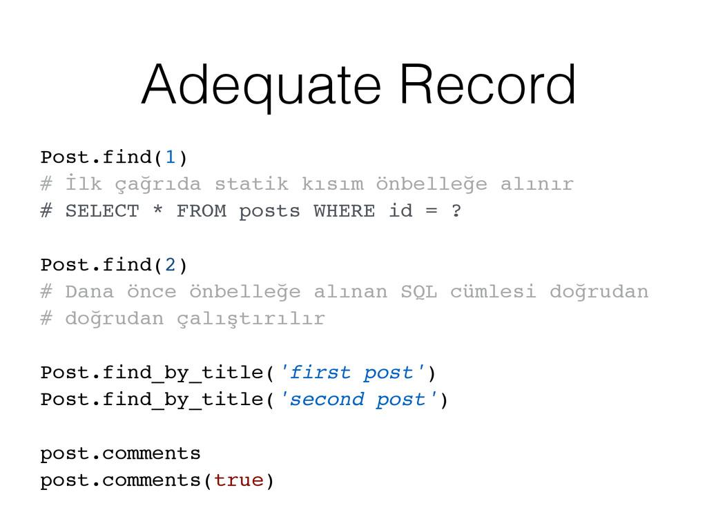 Adequate Record Post.find(1) # İlk çağrıda stat...