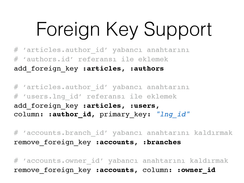 Foreign Key Support # 'articles.author_id' yaba...