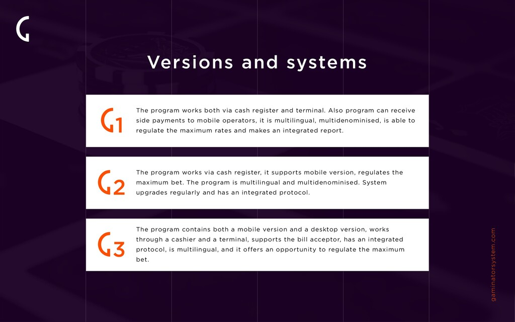 Versions and systems gaminatorsystem.com The pr...