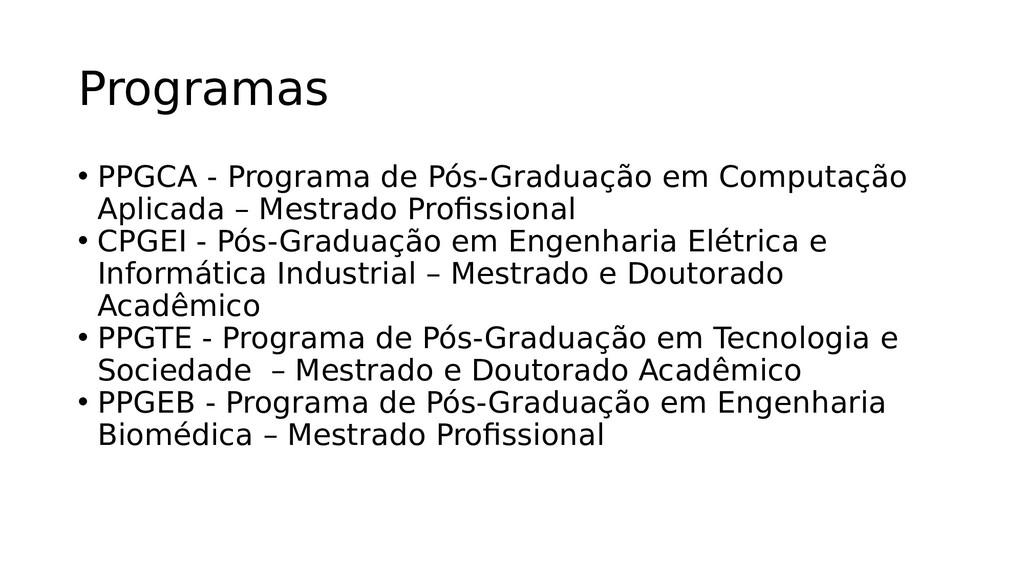 Programas • PPGCA - Programa de Pós-Graduação e...